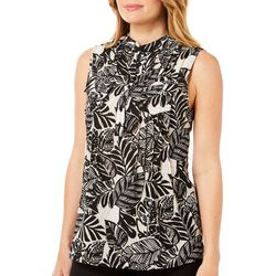 Coral Bay Womens Pleated Tropical Palm Leaf Top