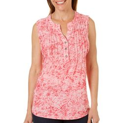 Coral Bay Womens Pleated Tie Dye Sleeveless Top