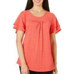 Coral Bay Womens Ruffled Eyelet Top