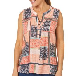Coral Bay Womens Patchwork Print Sleeveless Top