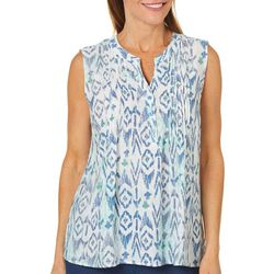 Coral Bay Womens Ikat Print Sleeveless Top