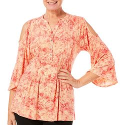 Coral Bay Womens Floral Tie Dye Cold Shoulder Top