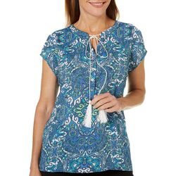 Coral Bay Womens Mixed Damask Tassel Tie Top