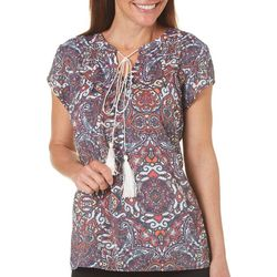 Coral Bay Womens Abstract Medallion Tassel Top