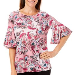 Coral Bay Womens Textured Paisley Bell Sleeve Top