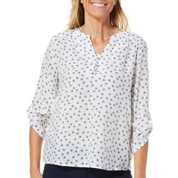 Coral Bay Womens Tropical Palm Roll Tab Top