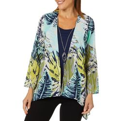Coral Bay Womens Palm Leaf Duet Top &  Necklace