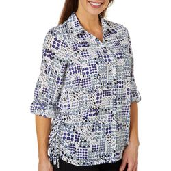 Coral Bay Womens Window Pane Dot Cinched Button Down Top