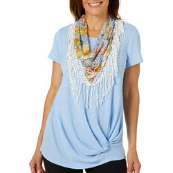 Coral Bay Womens Knot Front Top & Tropical Floral Lace Scarf