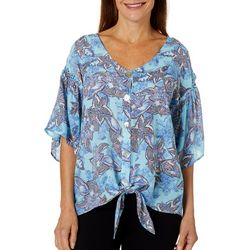Coral Bay Womens Tropical Floral Print Tie Front Top