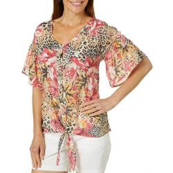 Coral Bay Womens Tropical Animal Print Tie Front Top