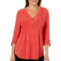 Coral Bay Womens Textured Henley Roll Tab Top