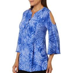 Coral Bay Womens Swirled Pleated Cold Shoulder Top