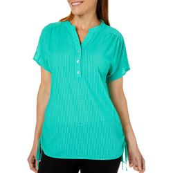 Coral Bay Womens Sheer Gingham Henley Top