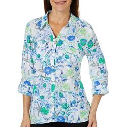 Coral Bay Womens Floral Gingham Roll Tab Top