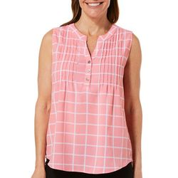 Coral Bay Womens Plaid Pleated Sleeveless Top