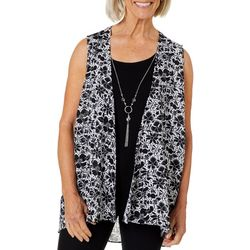 Coral Bay Womens Floral Sleeveless Duo Top & Necklace
