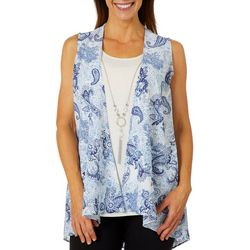 Coral Bay Womens Paisley Sleeveless Duo Top & Necklace