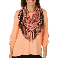 Coral Bay Womens Floral Lace Scarf Top