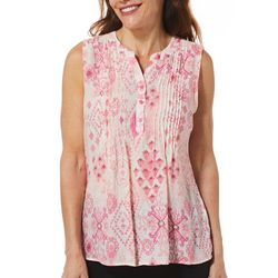 Coral Bay Womens Tuwa Mixed Geometric Print Sleeveless Top