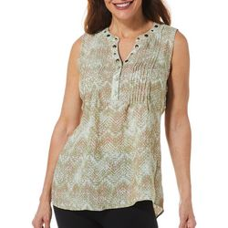 Coral Bay Womens Tuwa Tribal Print Embellished Neck Top