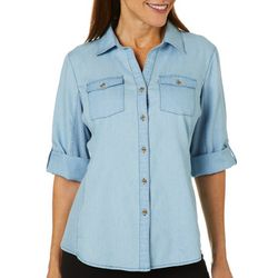 Coral Bay Womens Denim Knit To Fit Button Down Top