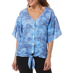 Coral Bay Womens Geometric Chevron Print Tie Front Top