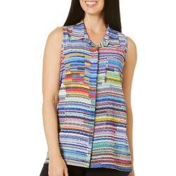 Coral Bay Womens Striped High-Low Sleeveless Top