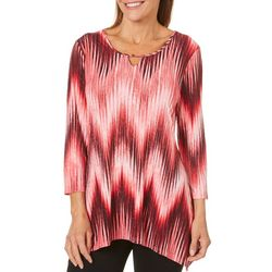 Coral Bay Womens Chevron Keyhole Glitter Top
