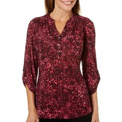 Coral Bay Womens Leopard Print Roll Tab Top