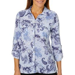 Coral Bay Womens Paisley Button Down Roll Tab Top