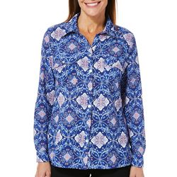 Coral Bay Womens Medallion Print Button Down Top