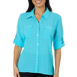 Coral Bay Womens Textured Button Down Top