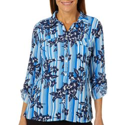 Coral Bay Womens Tropical Floral Striped Roll Tab Top