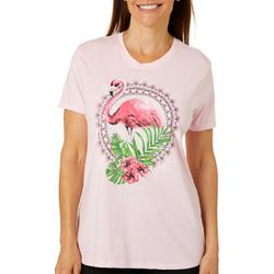 Coral Bay Womens Tropical Flamingo Screen Print T-Shirt