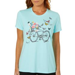 Coral Bay Womens Spring Bicycle Screen Print Top