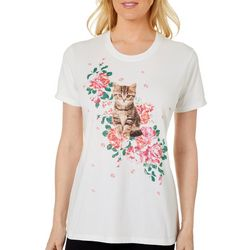 Coral Bay Womens Kitten With Roses Screen Print Top