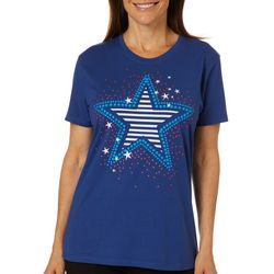 Coral Bay Womens Striped Stars Screen Print T-Shirt