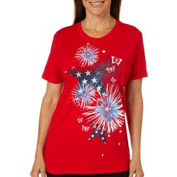 Coral Bay Womens Fireworks & Stars Screen Print Top