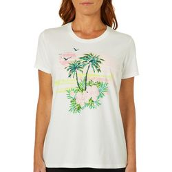 Coral Bay Womens Palm Tree Sunset Screen Print Top
