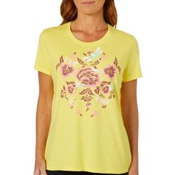 Coral Bay Womens Dragonfly Floral Screen Print Top