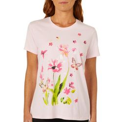 Coral Bay Womens Butterfly Floral Screen Print Top