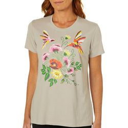 Coral Bay Womens Hummingbird Floral Screen Print Top