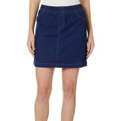 Coral Bay Womens Solid Denim Skort