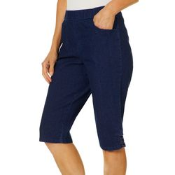 Coral Bay Womens Denim Crisscross Hem Pull On Shorts