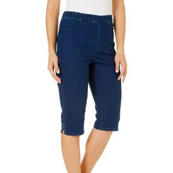 Coral Bay Womens Solid Pull On Denim Capris