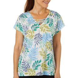 Coral Bay Energy Womens Tropical Palm Print V-Neck Top