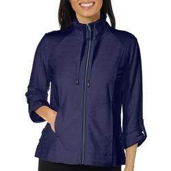 Coral Bay Womens Lace-Up Side Zip Up Jacket