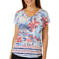 Coral Bay Womens Beach Day V-Neck Burnout Top