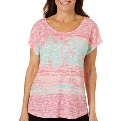 Coral Bay Womens Palm Tree Mixed Stripe Burnout Top